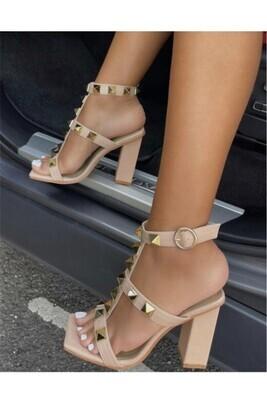 Studded Heel-Nude