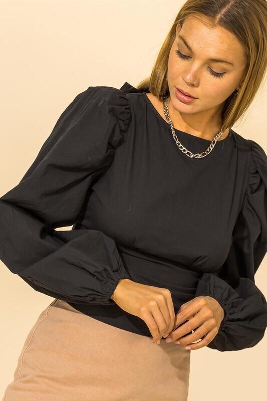 Trina Tie Back Blouse-Blk