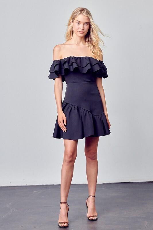 Mia Off Shoulder Dress-Blk
