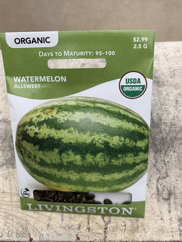 Organic Watermelon Allsweet (Seed) $2.99