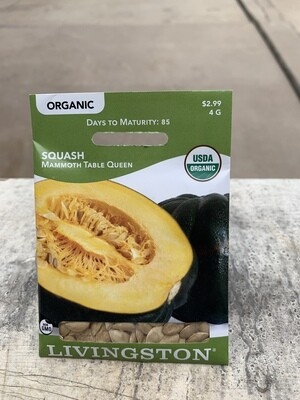 Organic Squash Mammoth Table Queen (Seed) $2.99
