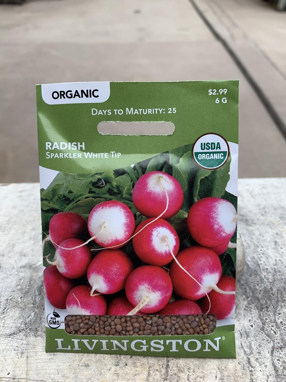 Organic Radish Sparkler White Tip (Seed) $2.99
