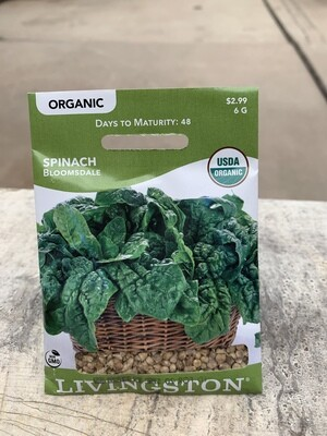 Organic Spinach Bloomsdale (Seed) $2.99