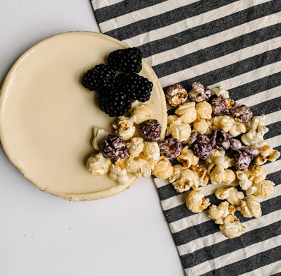 Popcorn Blackberry Cheesecake $6.00