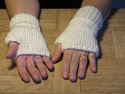 Knit White Fingerless Handwarmers - medium