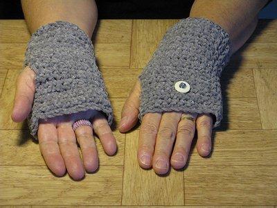 Crochet Grey Finger-less Hand Warmers - Size medium