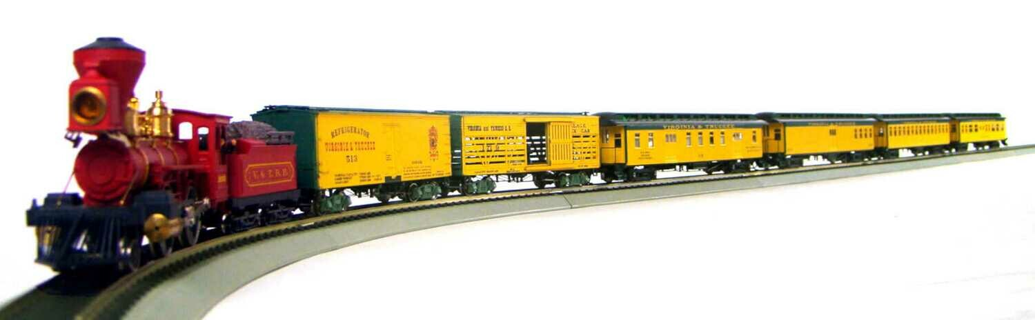 "Late 1800's V&TRR Mixed Passenger/Freight Set w/""Super"" Bowker 2-4-0 Locomotive, Super Detailed Consist & Super DCC/Sound HO Scale"