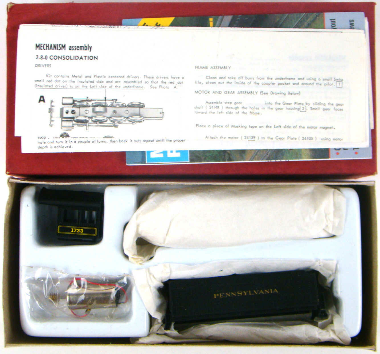 Roundhouse 463 PRR Alco 2-8-0 Consolidation Kit w/Can Motor HO Scale