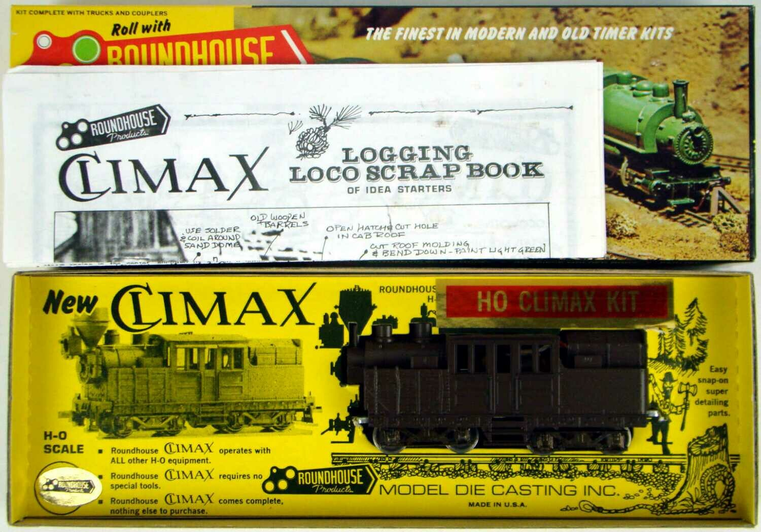 Roundhouse 2771 Factory Painted Brown Climax Locomotive Kit HO Scale