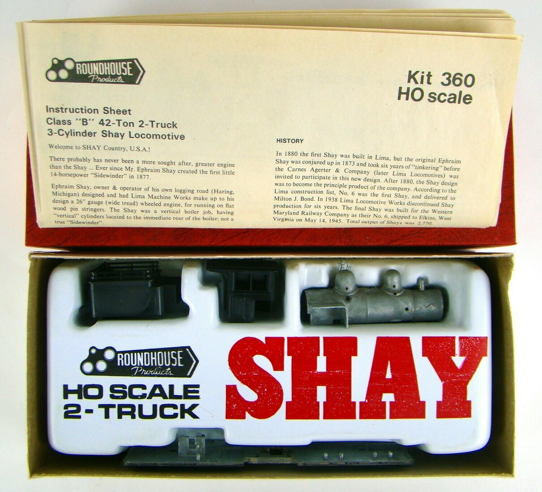 Roundhouse 360 Undecorated 2-Truck Shay Locomotive Kit HO Scale