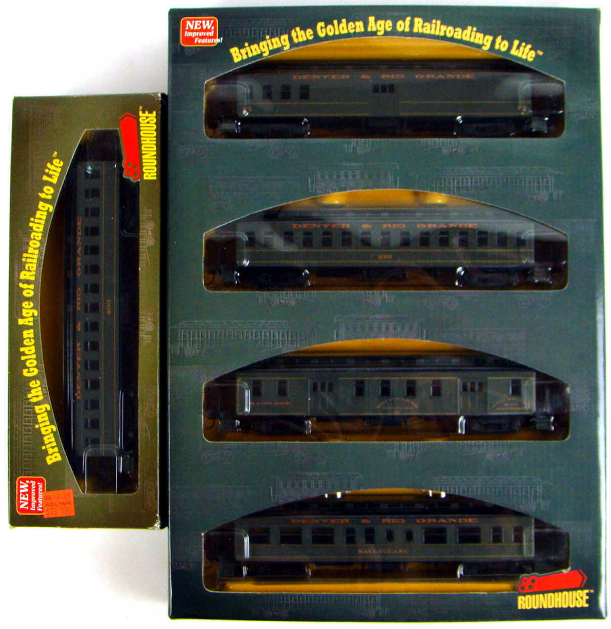"""Athearn/Roundhouse 84823 Complete 5-Car """"Green Scheme"""" D&RGW 50' Overland Coach Set HO Scale"""