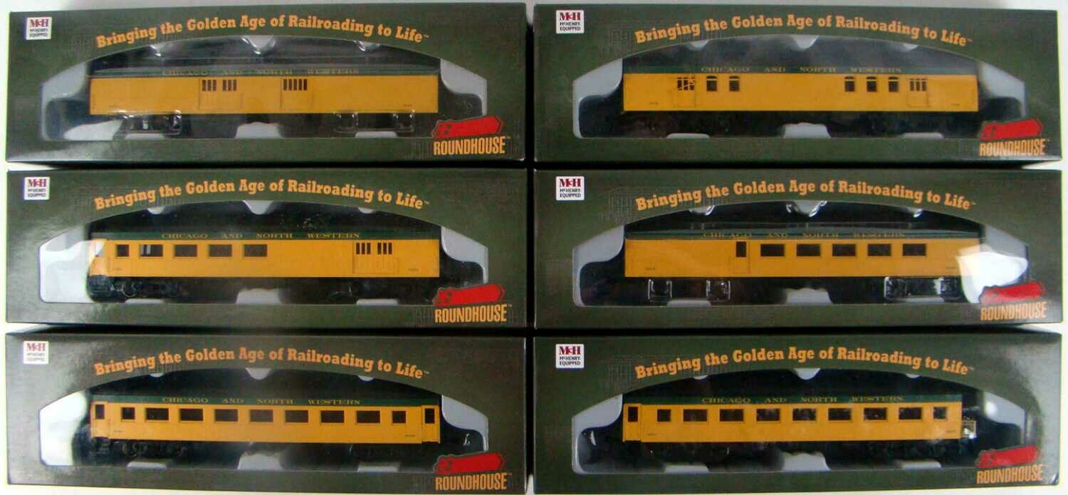 Athearn/Roundhouse 86509-86629 C&NW Complete 6-Coach 60' Arch Roof Passenger Set HO Scale
