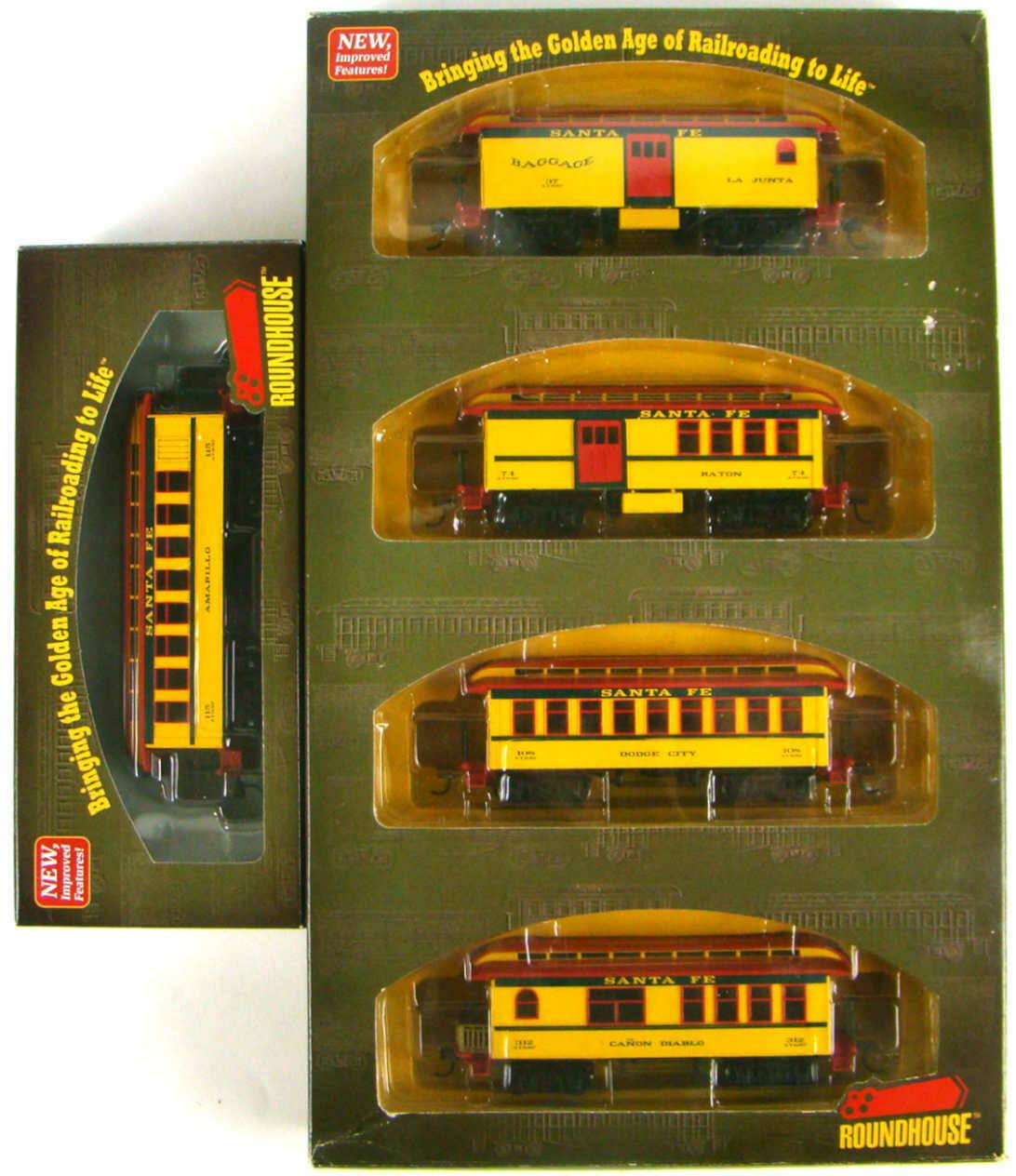 Athearn/Roundhouse 84301/84281 Santa Fe Complete 5-Coach 34' Overton Set HO Scale