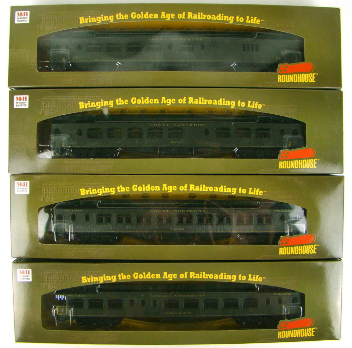 """Athearn/Roundhouse 85301-85381 4-Coach Great Northern 85"""" Pullman Palace Set HO Scale"""