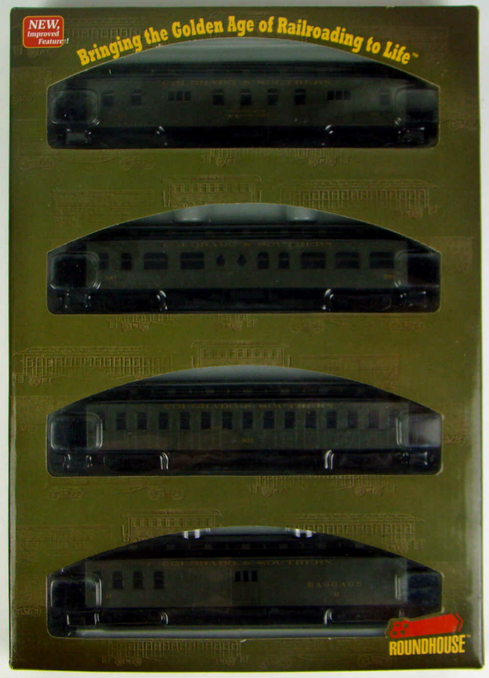 Athearn/Roundhouse 84839 Colorado & Southern 4-Car 50' Overland Coach Set HO Scale
