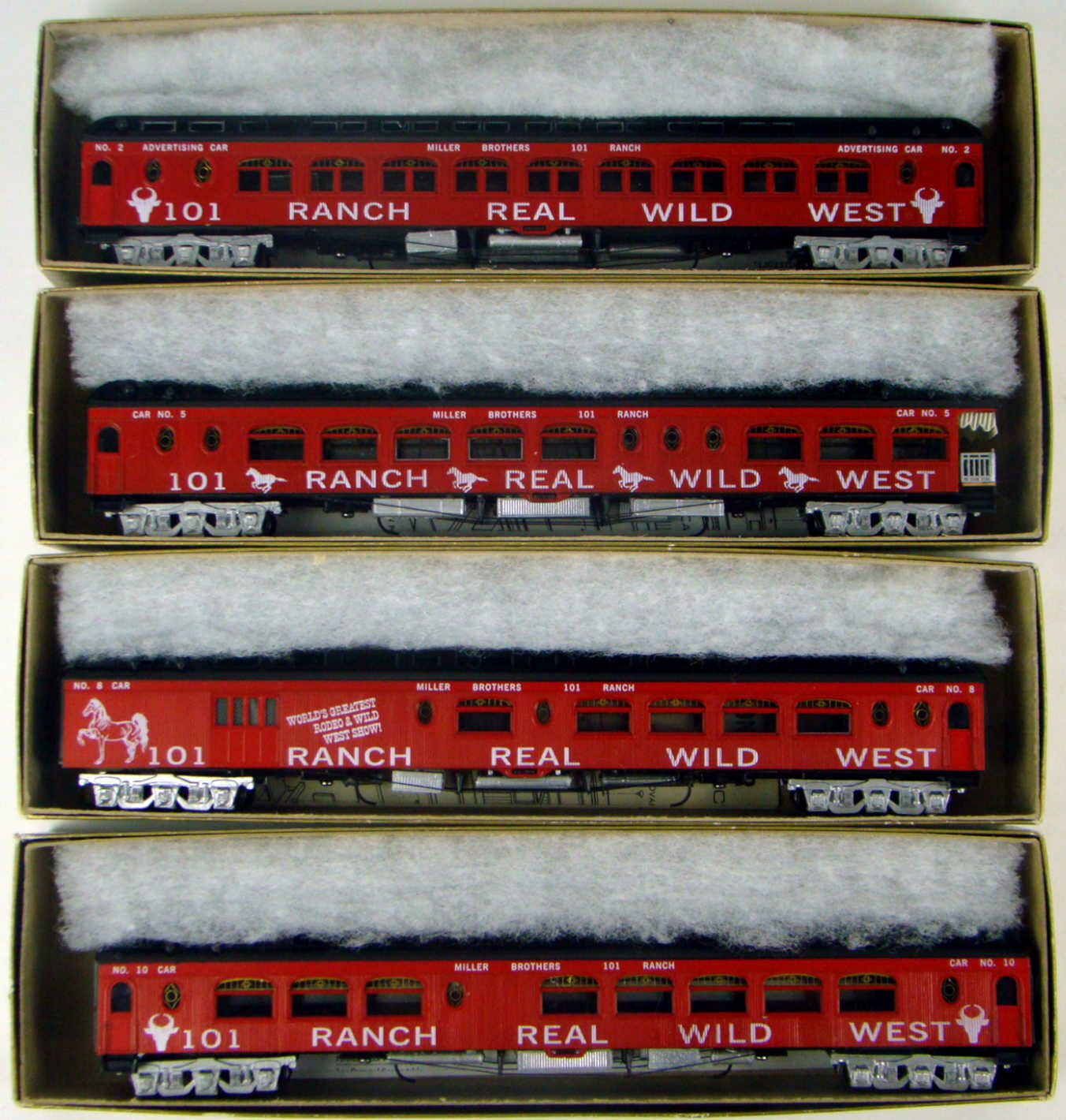 "Roundhouse 60814-44 Nicely Assembled 101 Ranch 4 Coach 85"" Pullman Palace Kit Set HO Scale"