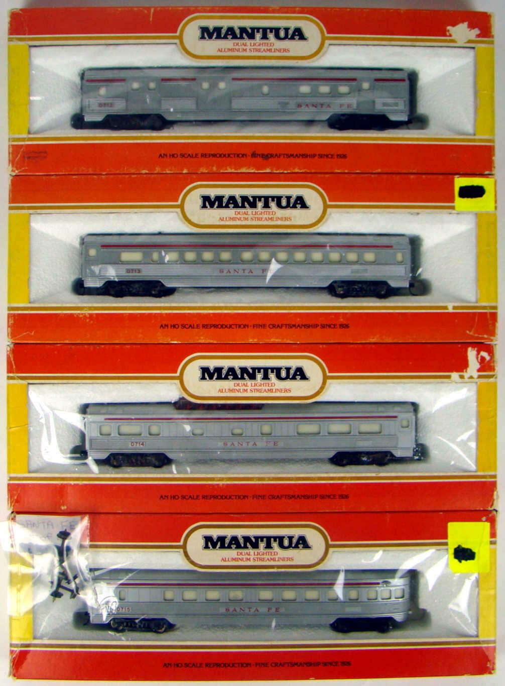 CLASSIC Mantua 4-Coach Santa Fe Streamlined Coach Set #1 HO Scale