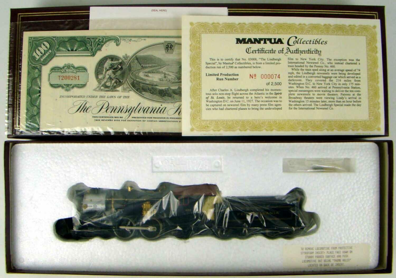 "Mantua Collectibles 03008 ""Lindbergh Special"" Pennsy #460 E6 4-4-2 Atlantic Locomotive COA #74 HO Scale"