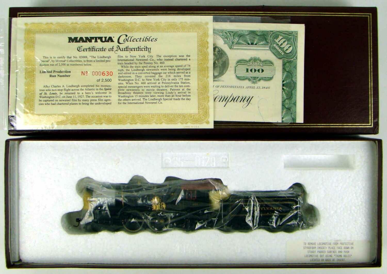"Mantua Collectibles 03008 ""Lindbergh Special"" Pennsy #460 E6 4-4-2 Atlantic Locomotive COA #630 HO Scale"