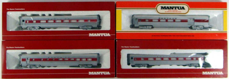 CLASSIC Mantua 4-Coach Santa Fe Streamlined Coach Set #2 HO Scale