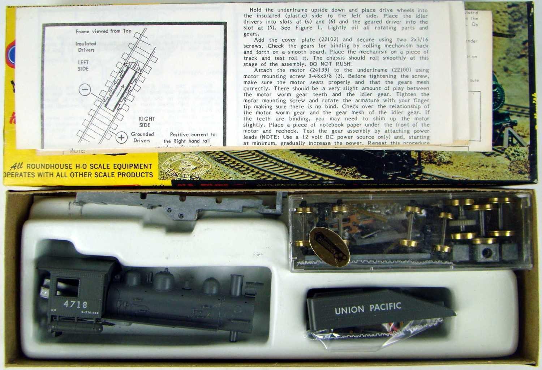 "Roundhouse 412 UP ""Long Boiler"" 0-6-0 Switcher w/Can Motor & Slope-Back Tender Kit HO Scale"