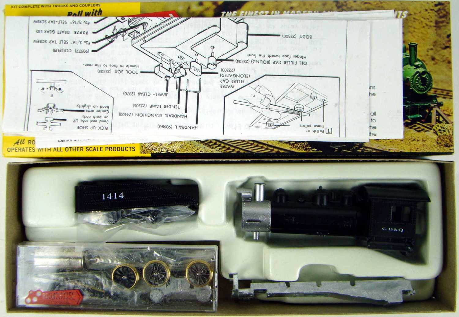 "Roundhouse 416 CB&Q ""Long Boiler"" 0-6-0 Switcher w/Can Motor & Slope-Back Tender Kit HO Scale"