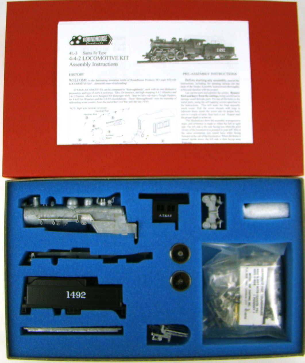 Roundhouse 431 Santa Fe Style AT&SF 4-4-2 Atlantic Kit w/Can Motor HO Scale