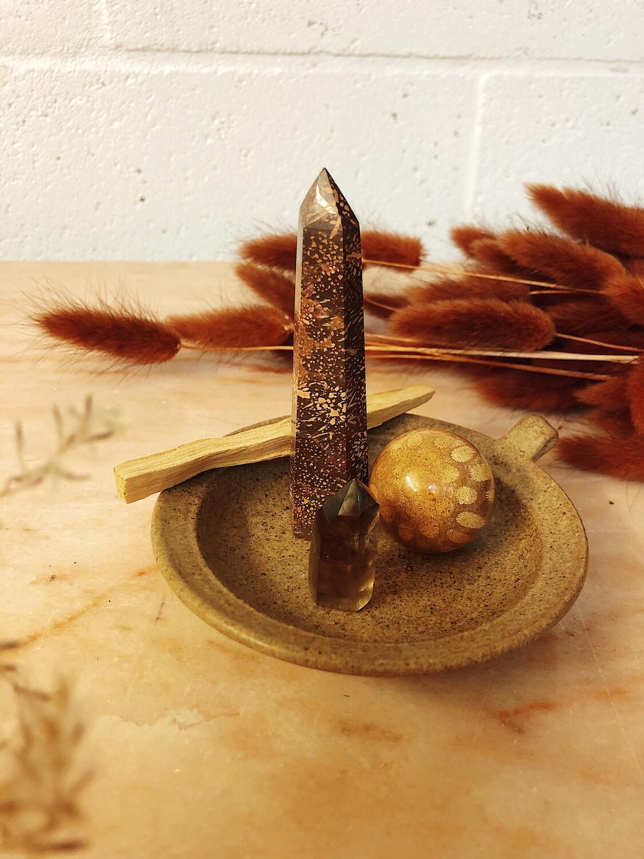 Kristalset starburst jaspis, koraalsteen en rookkwarts