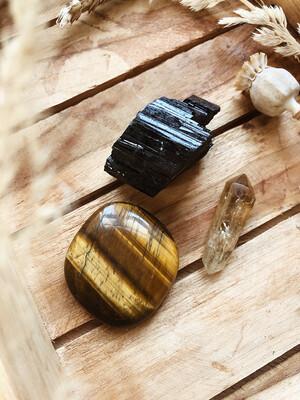 Kristalset citrien, tijgeroog en toermalijn