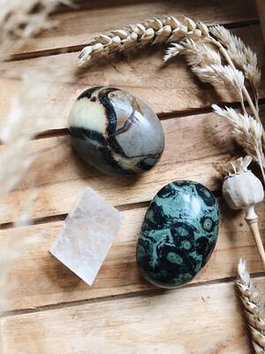 Kristalset septarie, kabamba jaspis en dubbelspaat