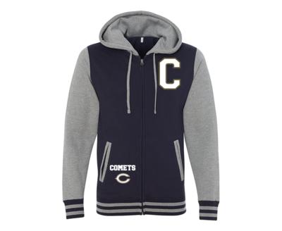 Blue Comet Varsity Full-Zip Hooded Sweatshirt