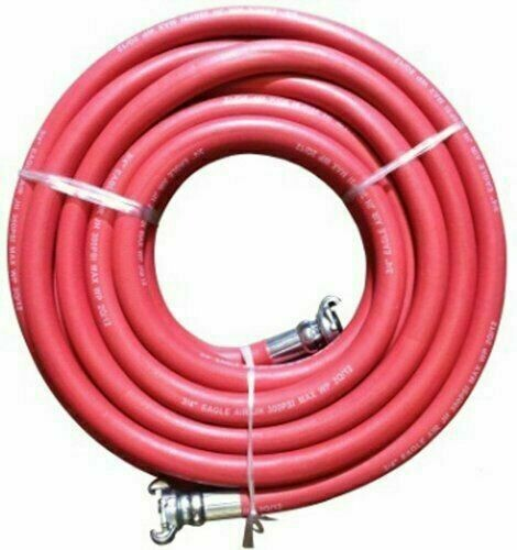 "JGB Eagle Red Jackhammer Rubber Air Hose, 3/4"" Universal (Chicago) Couplings, 50CFT"