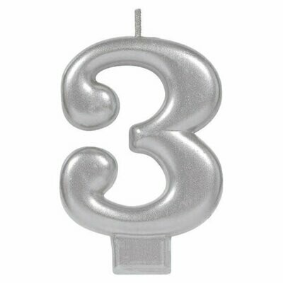 Block Candle Three Silver