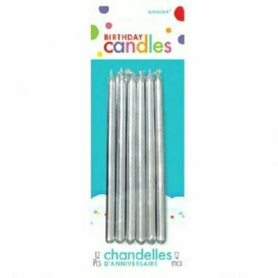 Birthday Candles Silver 12ct
