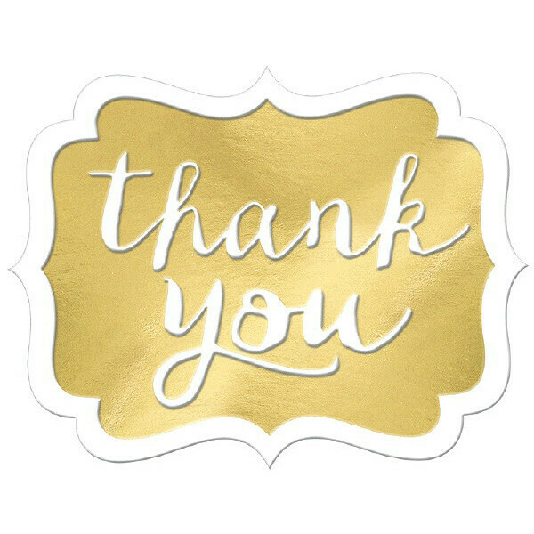 Thank You Stickers Gold 50ct