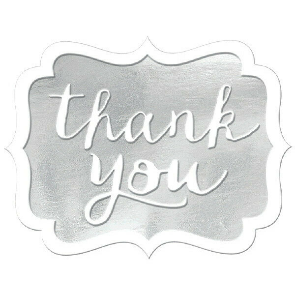 Thank You Stickers Silver 50ct