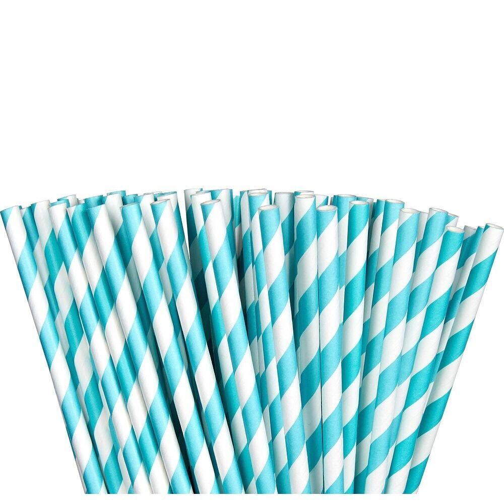 Paper Straw Robin Egg Blue 24ct