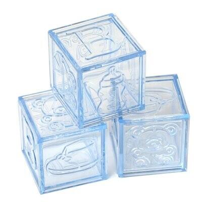 Plastic Baby Block Blue 12ct