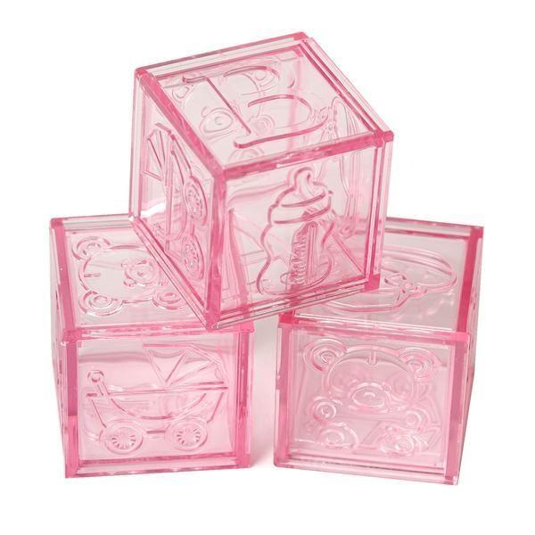 Plastic Baby Block Pink 12ct