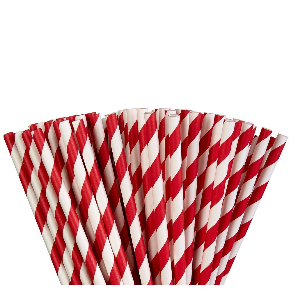 Paper Straw Apple Red 24ct