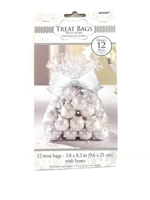 Treat Bags White with Bow 12ct