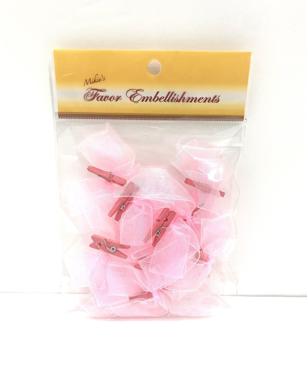Organza Bows Pink 12ct