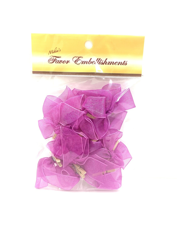 Organza Bows Purple 12ct