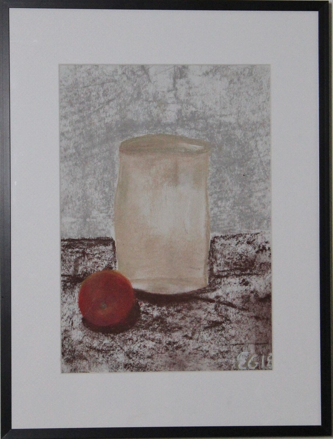 Vase and apple - crayon on paper 40x30 cm