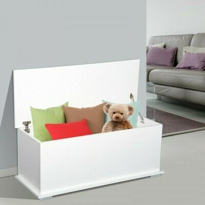 HOMCOM® Truhe Aufbewahrungsbox Holzkiste mit klappbarem Deckel Weiss