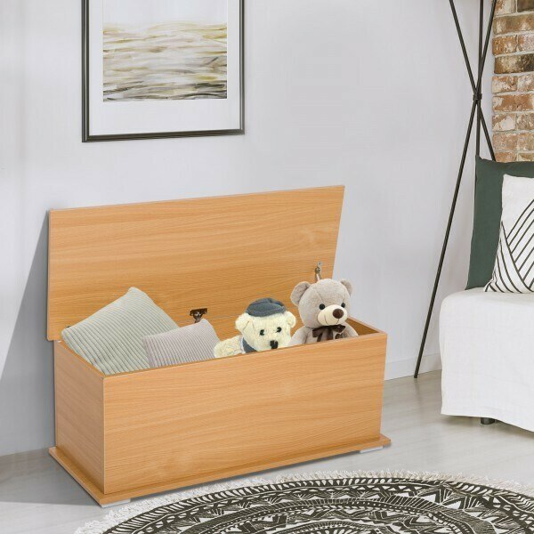 HOMCOM® Truhe Aufbewahrungsbox Holzkiste mit klappbarem Deckel Buche