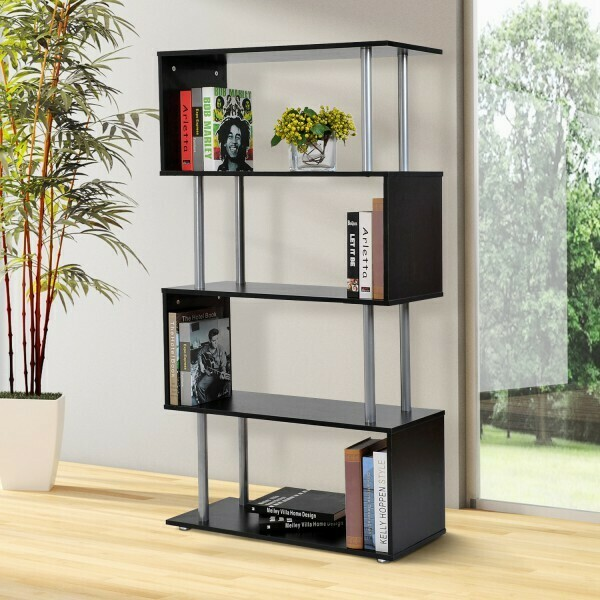 Outlet HOMCOM® Bücherregal Schwarz Wandregal Raumteiler Standregal 4 Fächer MFC