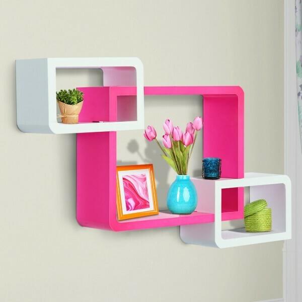 Outlet: HOMCOM® Wandregal Würfelregal Cube Regal mit 3 Fächern MDF