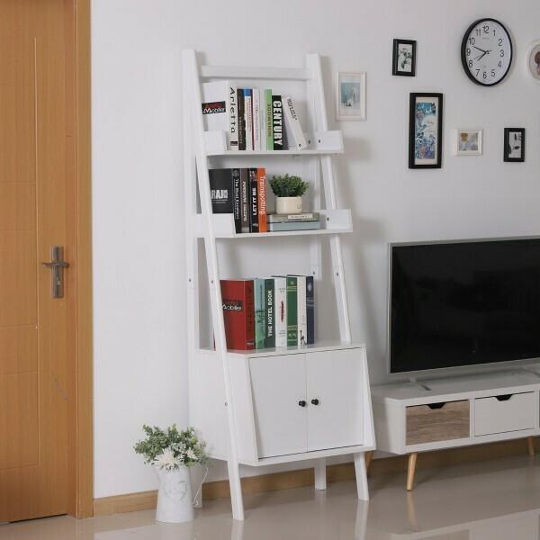 HOMCOM® Standregal Stufenregal Bücherregal Leiterregal mit Schrank 3 x Fach 1 x Schrank Holz Weiß 65 x 40 x 180 cm
