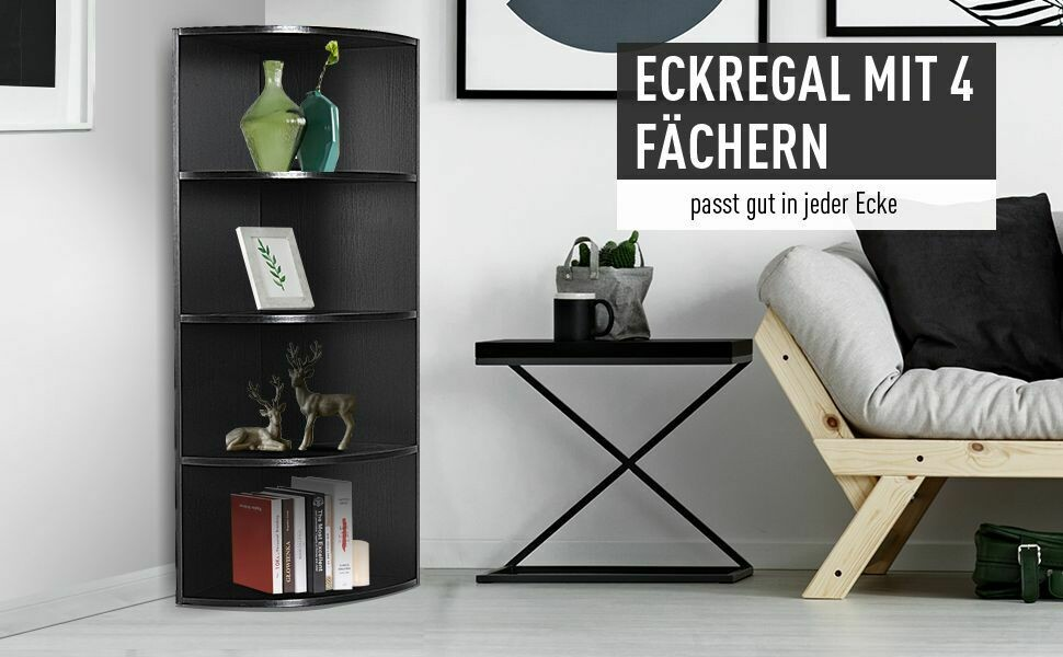 HOMCOM® Eckregal Standregal Bücherregal Dekoregal Blumenregal Holzregal fächerförmig 4 Fächer Schwarz 39,5 x 39,5 x 120 cm